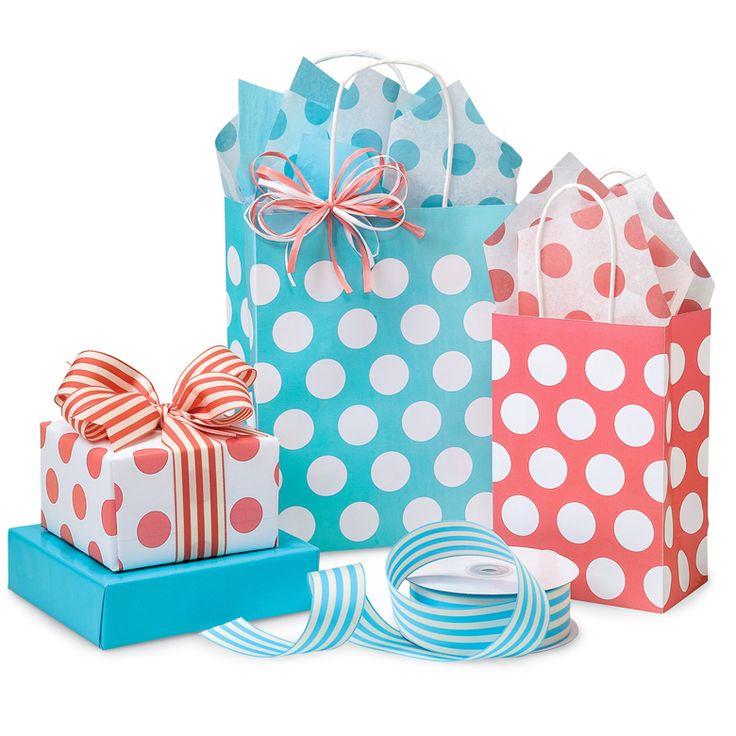 Polka Dot Collection from Nashville Wraps #babgiftbags #babygiftwrap