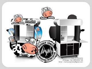 Desain Logo | Logo Kuliner |  Desain Gerobak | Jasa Desain dan Produksi Gerobak | Branding: Desain Gerobak Susu Moo