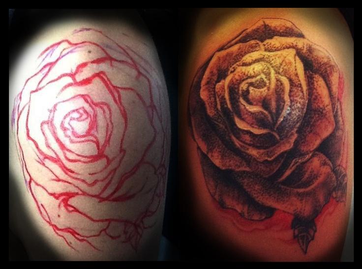 Freehand dotwork rose