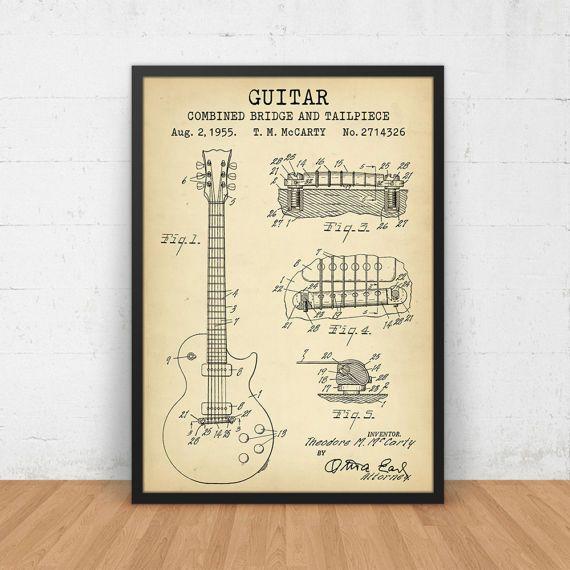 Gitaar Patent Prints, Gibson Les Paul gitaar blauwdruk kunst, digitale Download, muziek Studio Decor, Muziekgeschenken, musicus kunst aan de muur