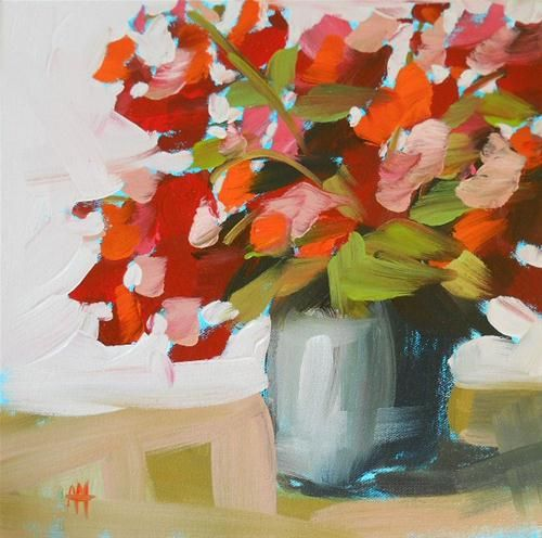 """geraniums on the porch"" - Original Fine Art for Sale - © Angela Moulton"