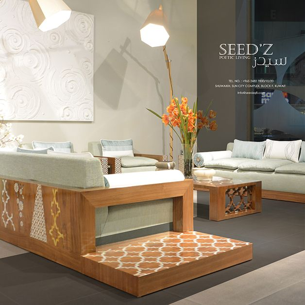 Ground Sofas For Everyday Gathering. Natural Walnut Wood With Different  Designs Of Inlay Mother Of
