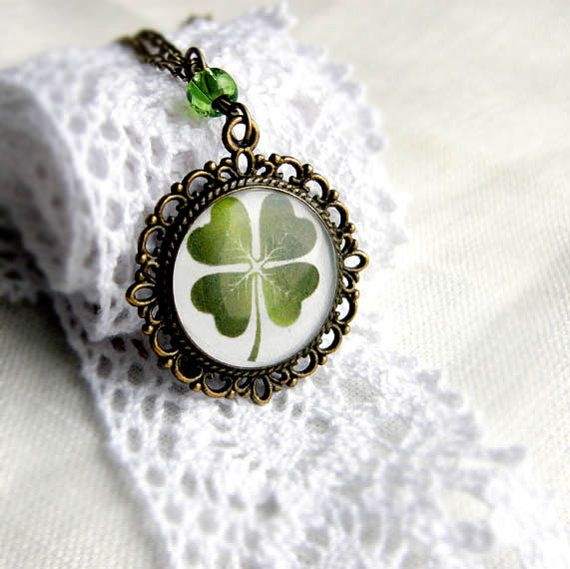 Cooper pendant with clover print - printed image pendant - botanical Jewelry -Pendant for luck - St Patrick's day