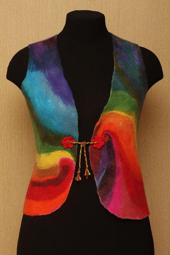 Rainbow's Whirlwind / Felted Clothing Vest by LybaV on Etsy, $180.00