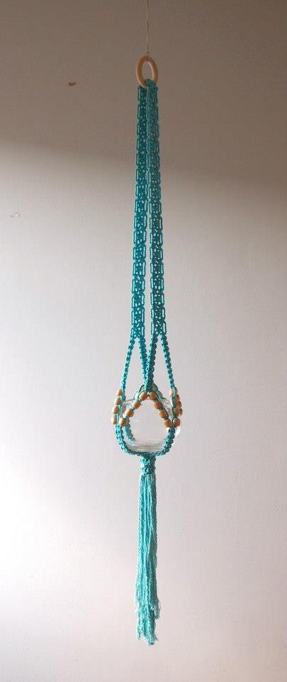 Turquoise macrame hanger
