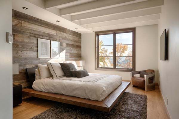 Jaw-dropping wood clad bedroom feature wall idea