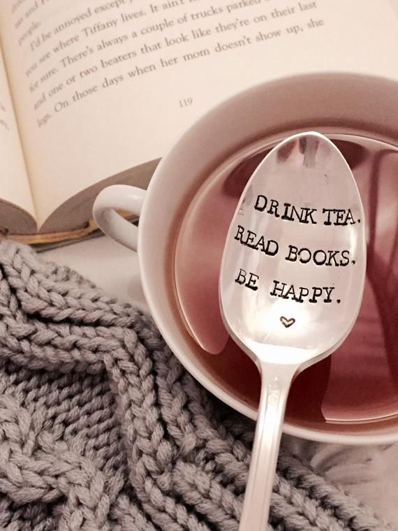 Book lover gift, Drink tea Read Books Be happy, tea lover gift, book club, stocking stuffer, under 2