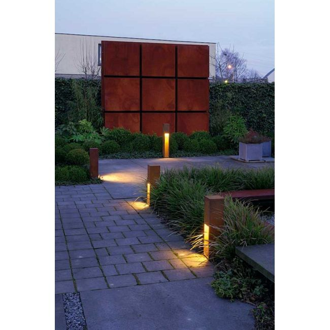 Rusty Slot Outdoor Bollard By Slv Lighting Outdoor Landscape Design Garden Lighting Design Garden Path Lighting