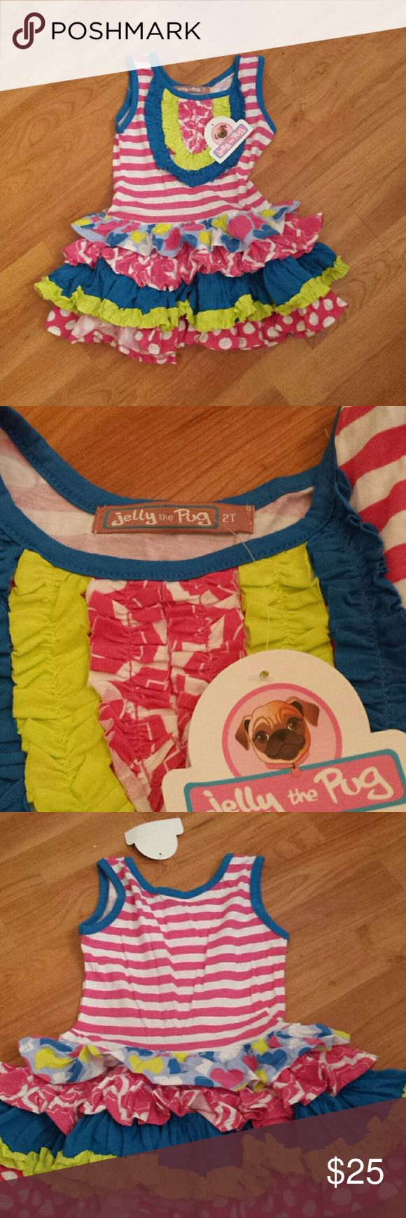 """Jelly the pug size 2T dress Jelly the pug size 2T dress! This is a seriously cute dress from the colors to the prints and it's new with the tag still attached! Made of 100% cotton and from the """"I heart you collection"""" in the Chloe knit dress series. Price firm. jelly the pug Dresses"""