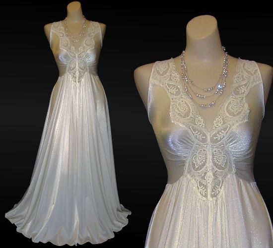 Classic Vintage Olga Nightgown Sweep Skirt Candlelight White