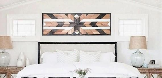 Reclaimed Wood Art, Geometric Wood, Southwestern Wood Art, Navajo wood Art, Queen Headboard, Wood Quilt, Large Wood Art, Cottage Chic Art,