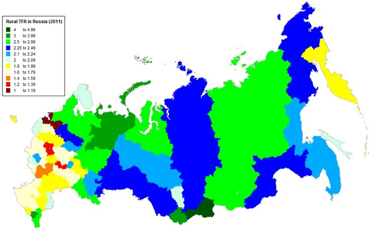 Rural Total Fertility Rate (TFR) for Russia in 2011