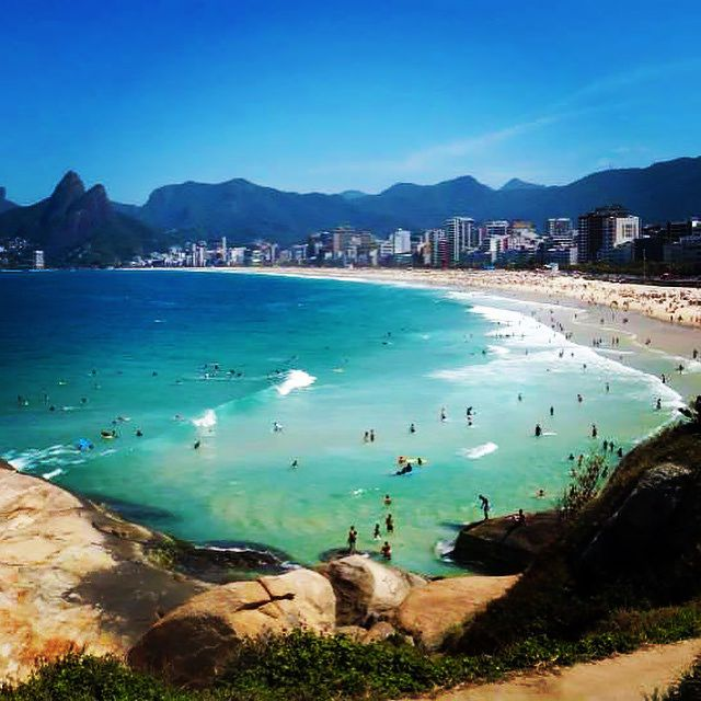 We liked Ipanema beach in Rio de Janeiro over Copacabana beach... It's just around the corner! The mountains of the national park make a stunning backdrop to where the land meets the sea.