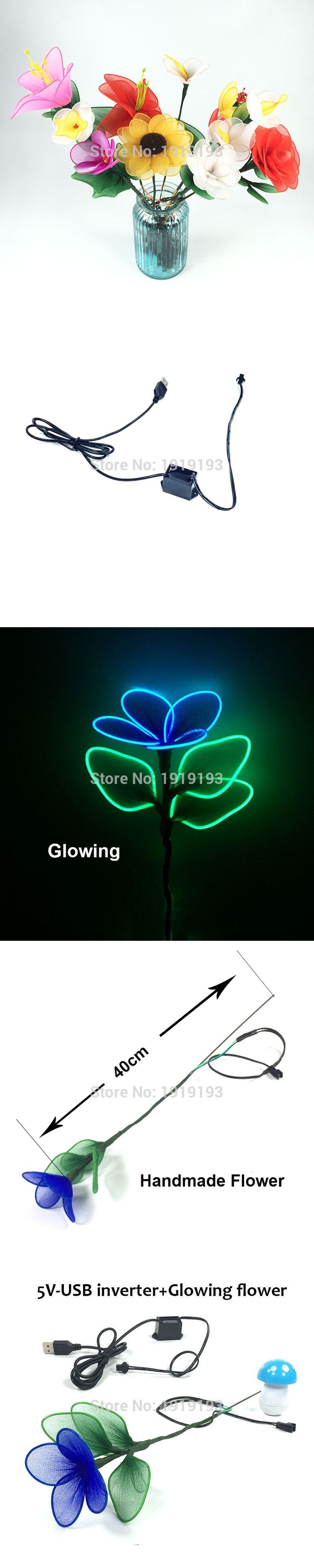 New Arrival Stage Design Light up Shine EL wire Flower Novelty Lighting Bright Neon EL Flower as Night Lamp,Wall Lamp,Home decor