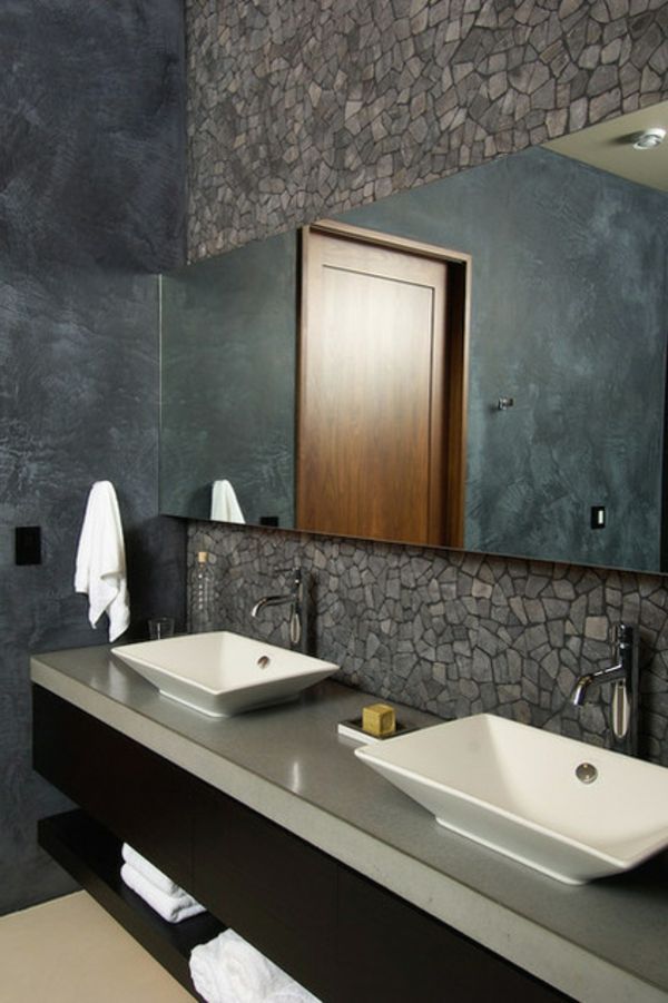 schwarz im badezimmer waschbecken spiegel bad bath. Black Bedroom Furniture Sets. Home Design Ideas