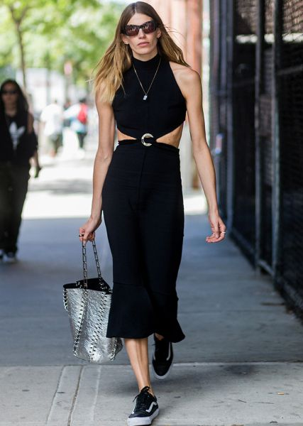 Street Style Guide To Wearing Black This Summer—Midi turtleneck dress with side cutouts