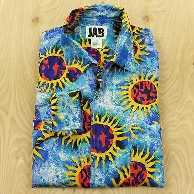 JAB-silk-abstract-sun-print-shirt-size-XL-90s-swag-vtg-vaporwave-fresh-prince