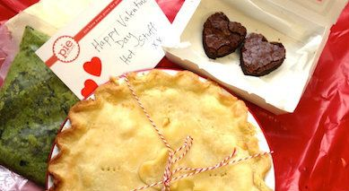 Pie Society - Valentine's Day Gift Box - Beef Bourguignon Pie, Side Dishes of Minted Pea Puree, Buttery Mashed Potato and Dark Chocolate & Tart Cherry Brownies - Delivered Sydney Wide + +