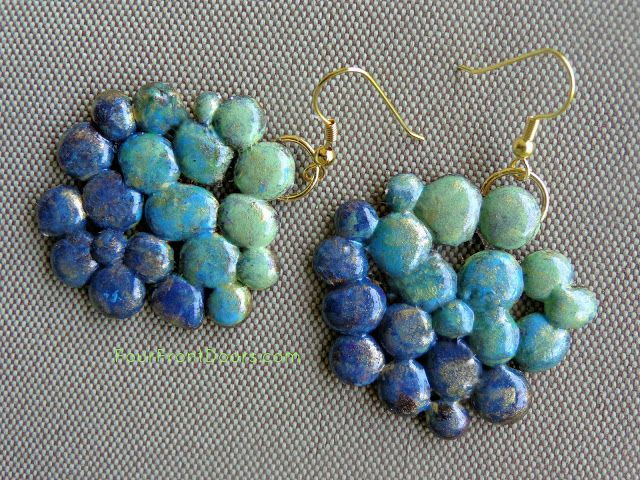 Earrings made with drops from glue gun ~ cost less than $1.00 per pair ~ I'm thinking a diamond shape would work, too ~ or Christmas ornament shape ~ oh, the possibilities are endless