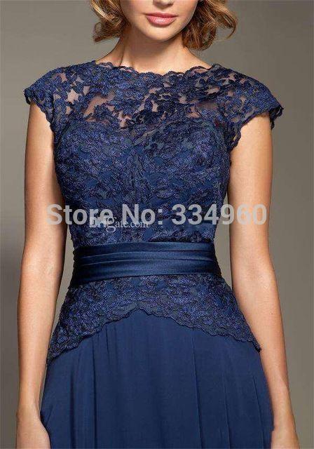 Lindo 2015 laço azul escuro mãe da noiva vestidos tampadas retrato A linha Corved botão voltar até o chão vestido de noite