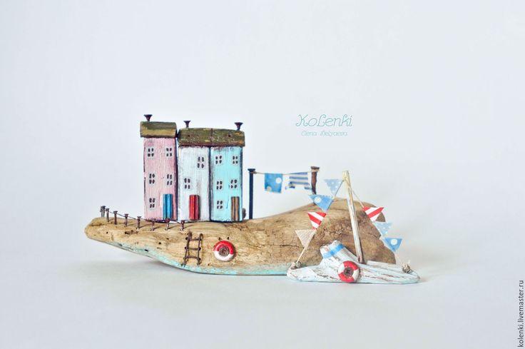 """Купить Морская композиция """"Приморский городок"""" driftwood - голубой, морская тема, driftwood, kolenki, дрифтвуд"""