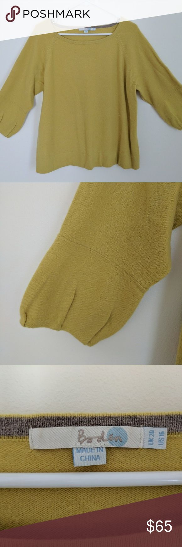 Cashmere Boden sulfur color sweater 100% cashmere Boden sulfur color sweater, slight bell sleeve at base of 3/4 sleeve.  Very small hole on lower front, discounted accordingly Boden Sweaters