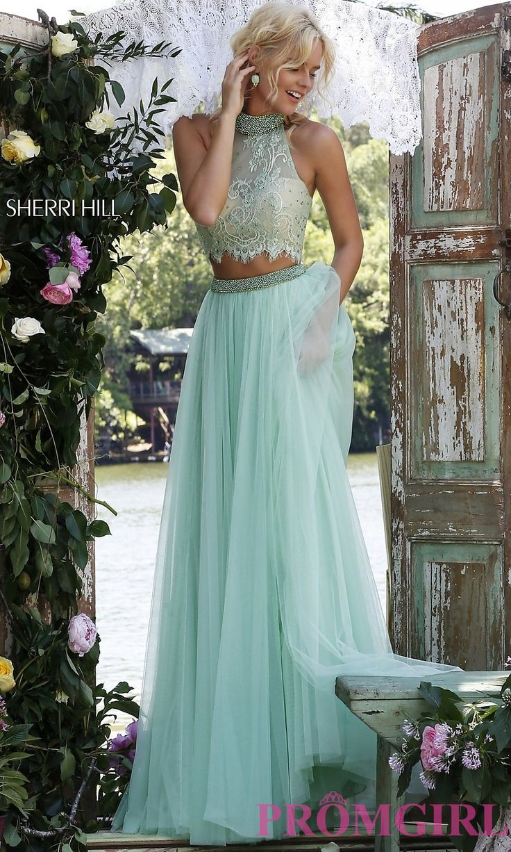 High Neck Sherri Hill Two Piece Prom Dress with Lace Top in Light Green