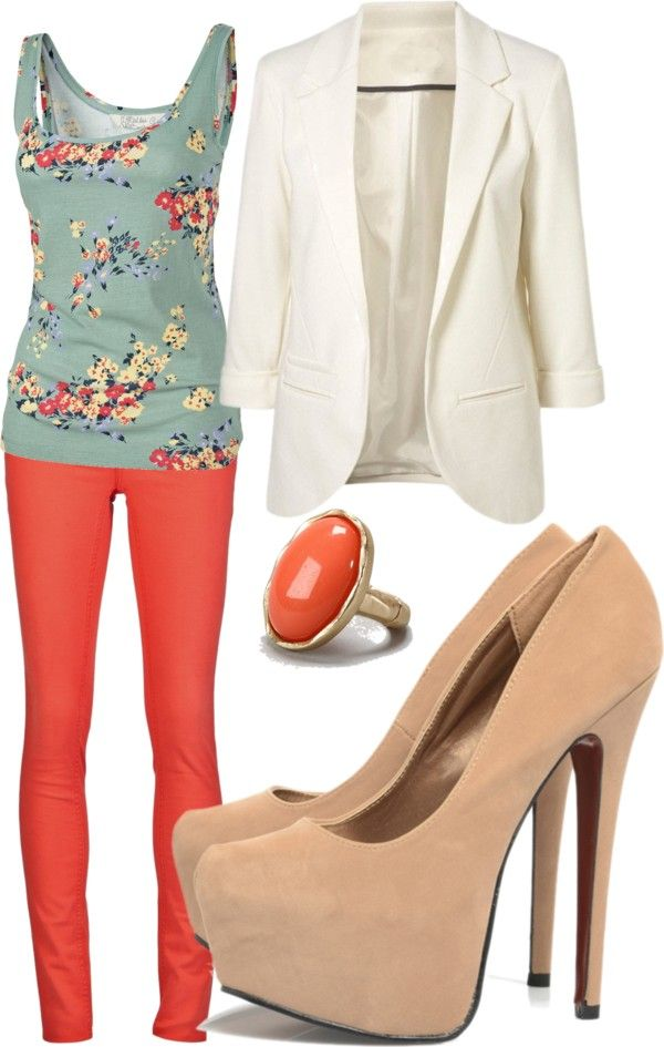 yes please! Coral pants and a floral shirt