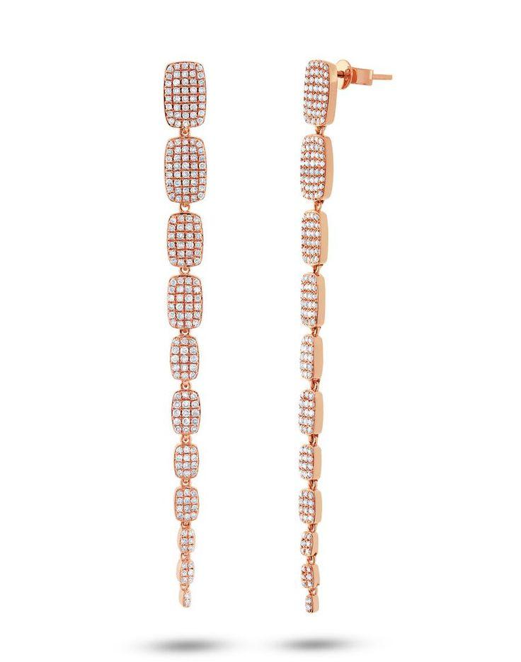 1.35ct 14k Gold Long Diamond Earrings