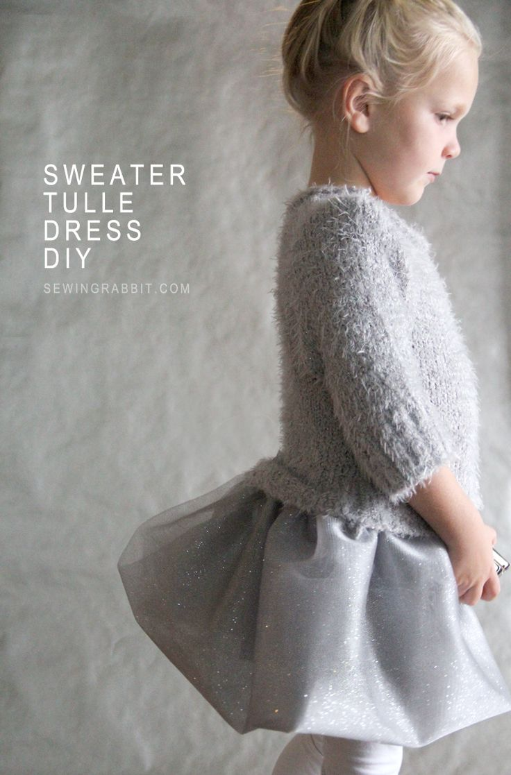 Turn an Upcycled Sweater into this pretty dress! Sweater and Tulle Dress DIY #makeitgiveit