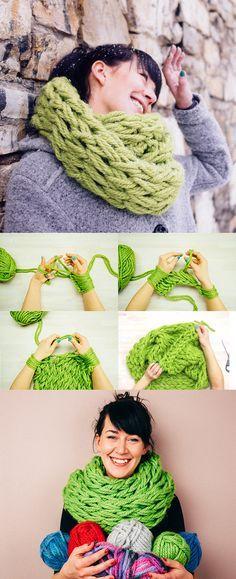 Faça você mesmo: cachecol infinito com tricô de dedo :D DIY 30-Minute Infinity Scarf