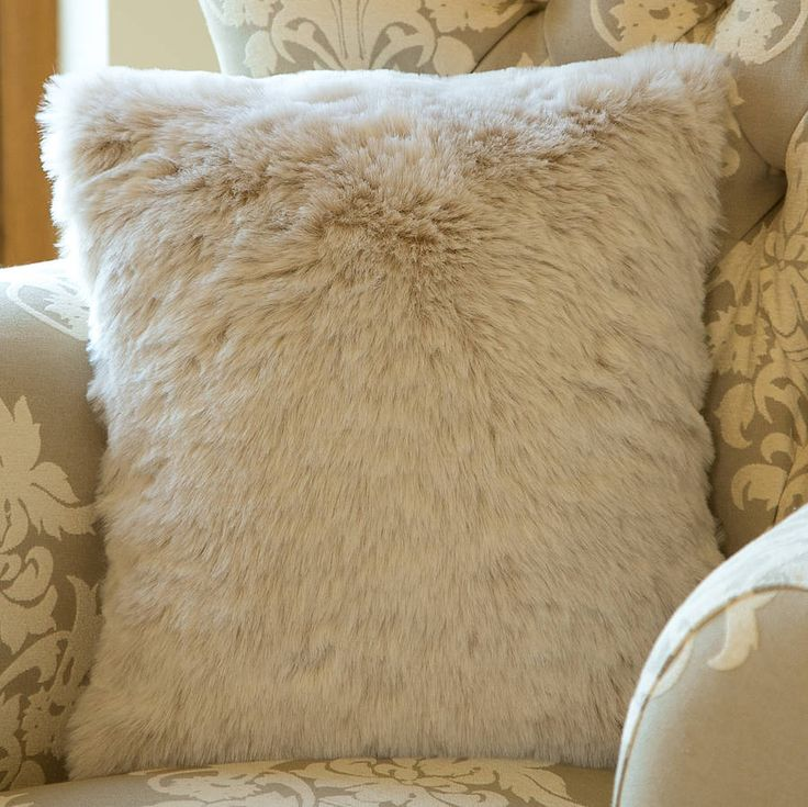 country cream faux fur cushion by dibor | £14.95notonthehighstreet.com