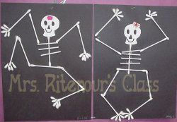 Q-tip Skeleton - craft center.. i loved doing this in 2nd grade!!!