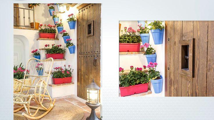 Detalle Jardinera geranios y macetas para colgar en azul añil
