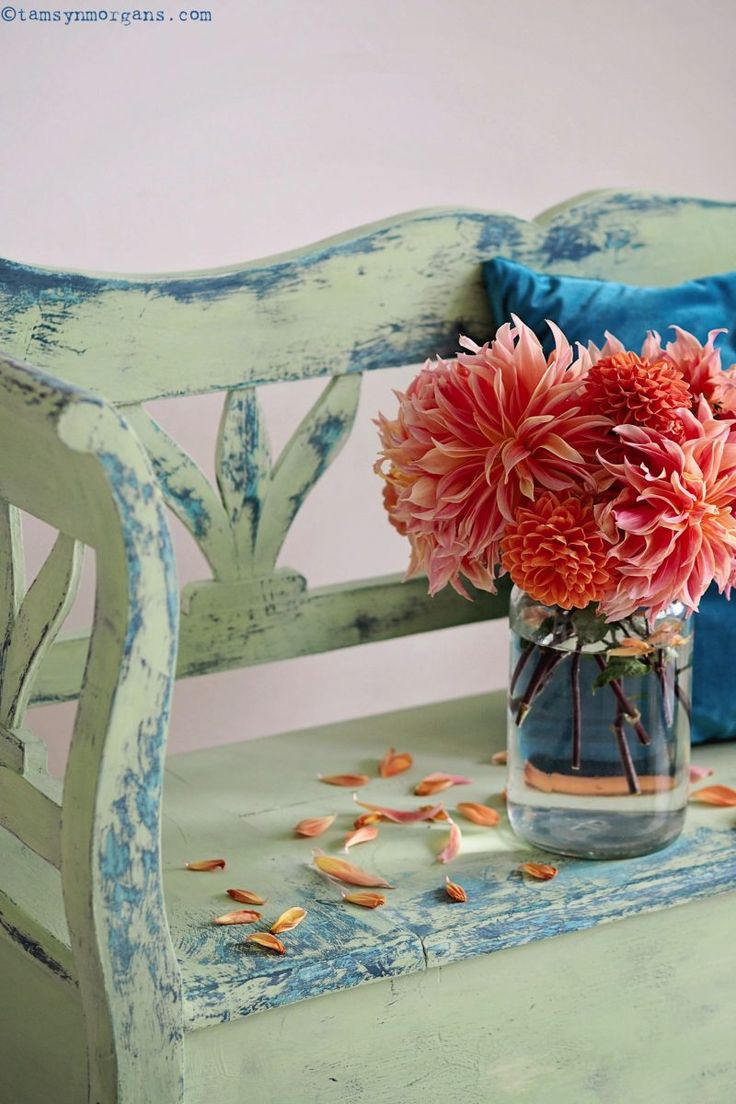 Gorgeous piece painted by the blogger Tamsyn Morgans | Tamsyn began by painting her dining room pine bench with thick layers of Chalk Paint® by Annie Sloan in Provence and Aubusson Blue, and then painted a final top layer in Lem Lem which was sanded back in areas that would naturally wear.