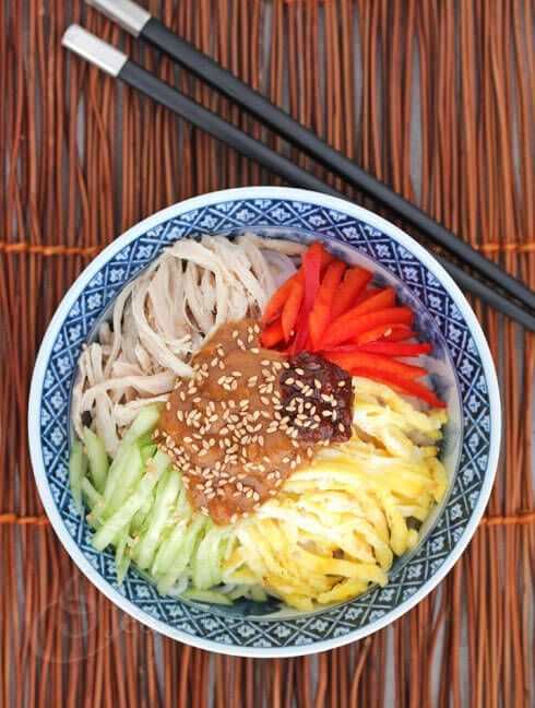 Cold Asian Noodles with Peanut Sauce, Chicken and Vegetables Recipe - Harumi Kurihara - 50 Women Game Changers In Food - Jeanette's Healthy Living