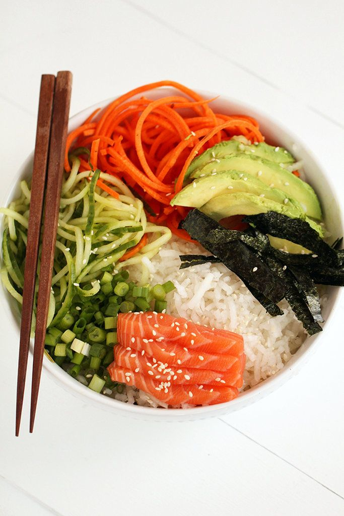 Spiralized Sushi Bowl with Salmon Sashimi and Ginger-Miso Dressing — a veggie-packed take on the chirashi bowl, via @inspiralized