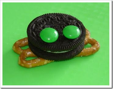 cute frog snack-use skittles for eyes instead of m&ms and use dairy free pretzels--Oreos are usually dairy free