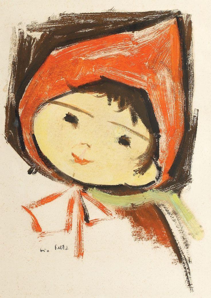 """Tia Peltz, Scufița roșie - guașă pe hârtie, 33 × 23,5 cm, semnat stânga jos, cu negru, """"Tia Peltz"""""""