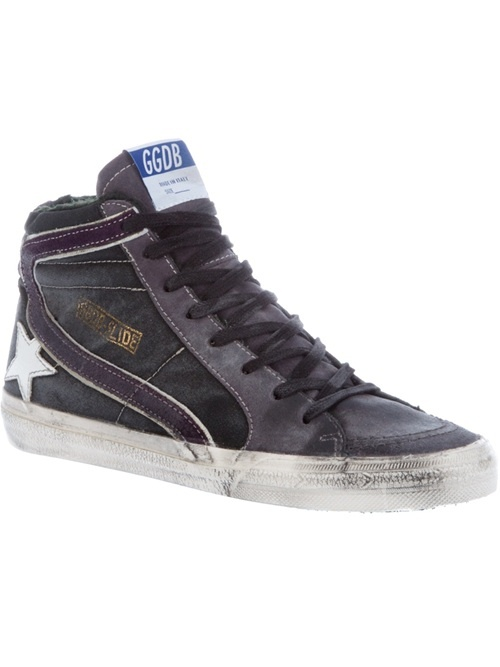 Grey leather high top trainer from Golden Goose featuring a distressed look, a contrasting purple stripe detail to the sides, contrast lace-up front fastening, round toe, side silver-tone zip fastening to the side and contrast rubber sole.