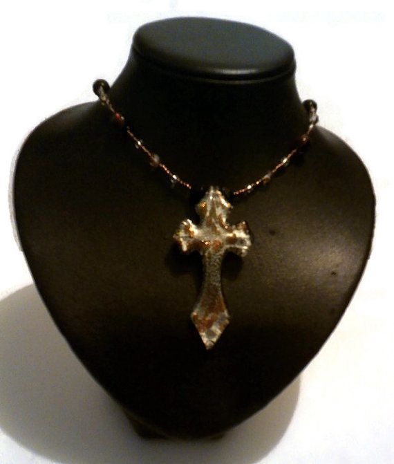 Handmade for you by JCre8tions: Gothic Emo Bronze and Silver Foil Glass Cross Necklace $60 on Etsy. Free Australia wide postage use coupon code MERRYCHRISTMAS at checkout.