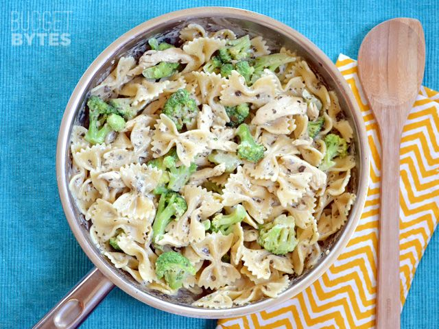 This super fast skillet meal that combines a creamy pesto sauce, broccoli, and pasta is perfect for busy weeknights. Step by step photos.