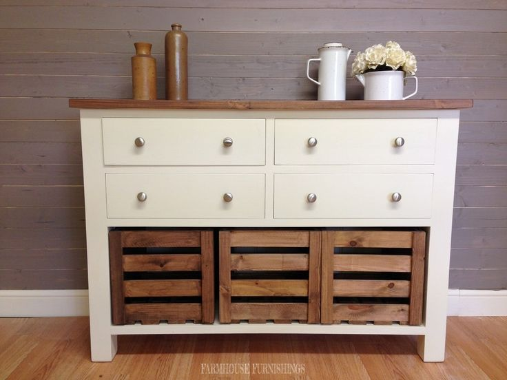 Solid Pine Sideboards for Sale, 4ft Rustic Solid Pine Sideboard with  Crate Storage