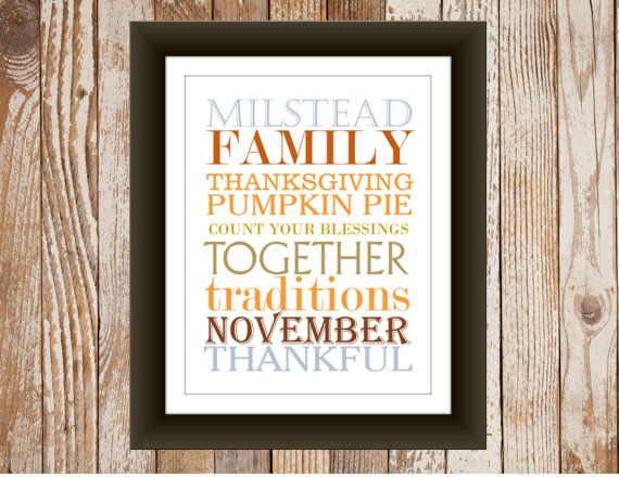 Thanksgiving decor print subway art with family name
