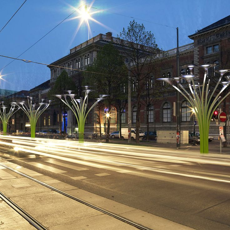Ross Lovegrove - Solar Trees - Vienna. Glowing plant-like solar trees that will line the streets near the MAK museum.  http://www.rosslovegrove.com/index.php/custom_type/solar-tree/?category=environment
