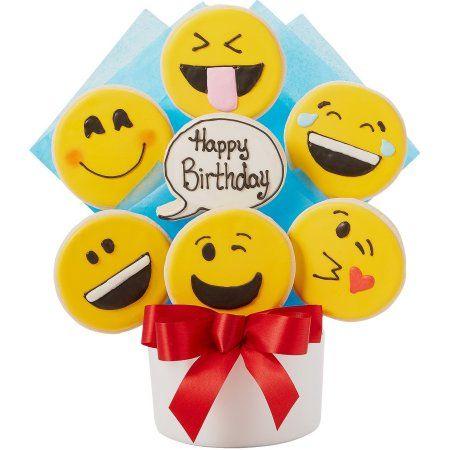Happy Birthday Emoji Cutout Cookie Bouquet
