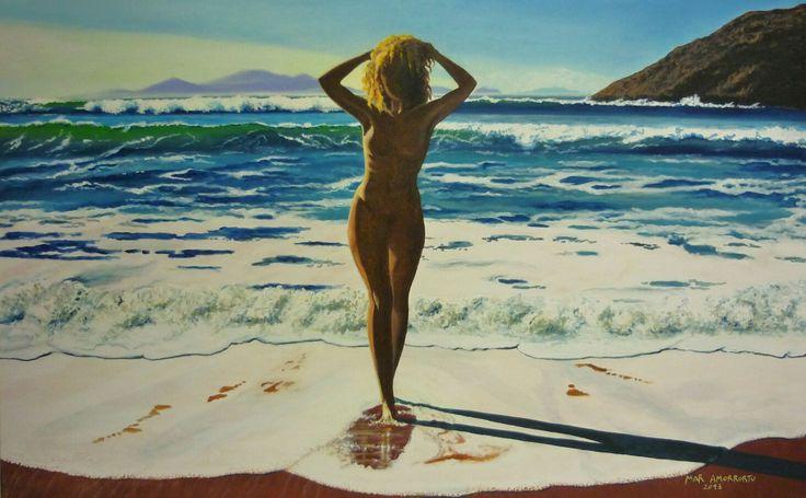 Mujer saliendo del mar. Mar Amorrortu 2013. Acrilico sobre lienzo. 110x80 cms.