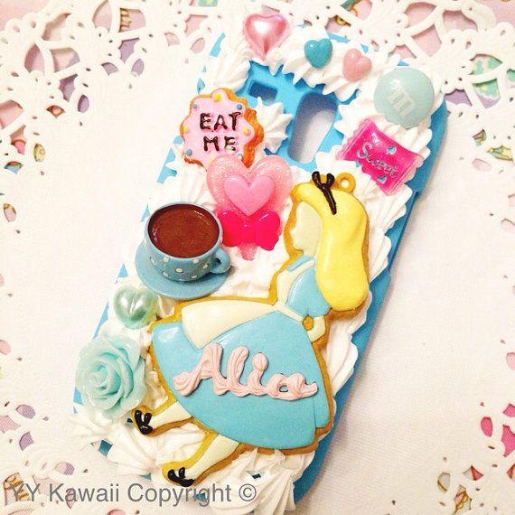 Alice in Wonderland inspired Kawaii Decoden Phone case by YYKawaii