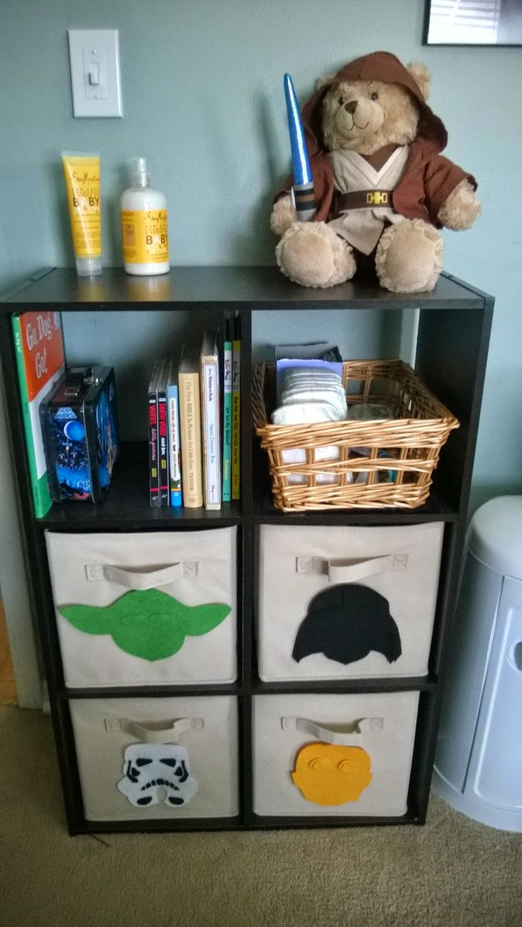 Nerdy Star Wars Nursery or Children's Room Shelf using felt cutouts and boxes. Made for my son's Star Wars Nursery