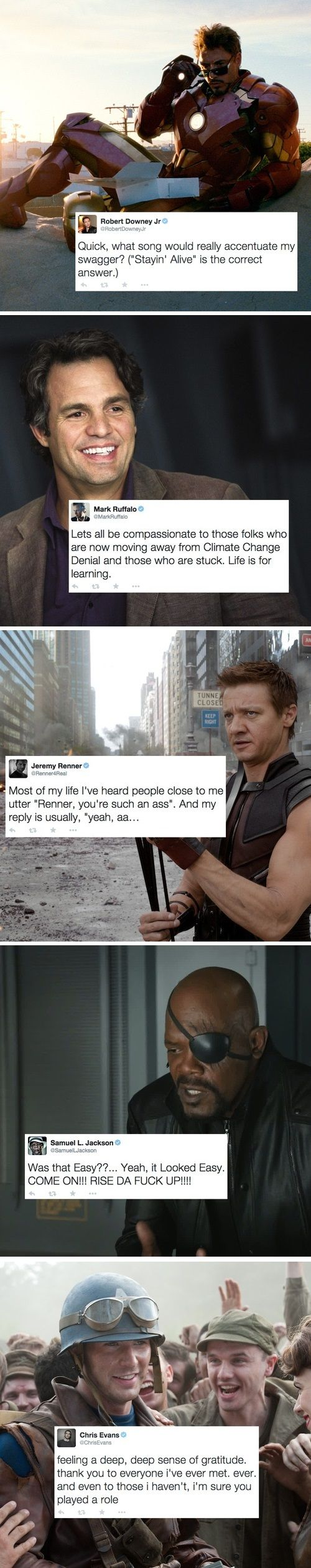 Actors' twitter accounts reveal they're actually their characters: Robert Downey Jr as Tony Stark, Mark Ruffalo as Bruce Banner, Jeremy Renner as Clint Barton, Samuel Jackson as Nick Fury and Chris Evans as Steve Rogers.